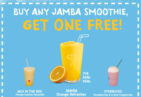 Jamba Juice has this awesome BOGO promotion right where buy one Jamba Juice